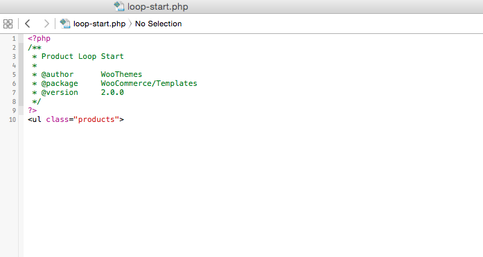 Changing the starting and end tags of the products loop in main shop page of a WooCommerce theme